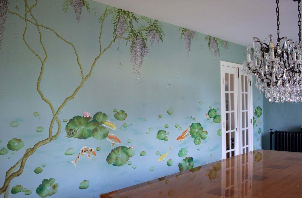 Lotus and Koi Mural, New York