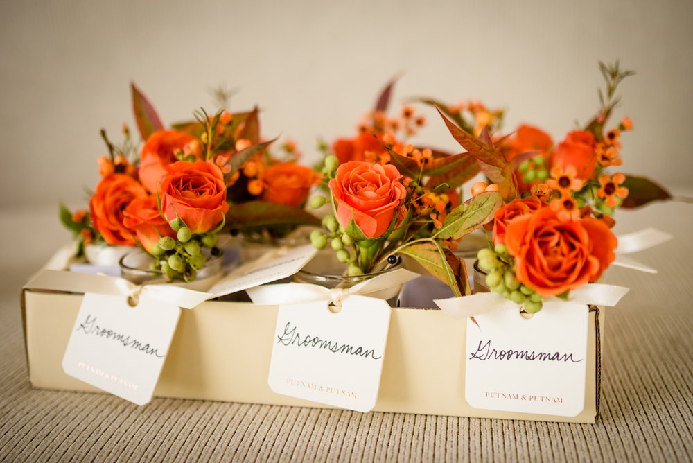 Weylin Wedding: Elegant boutonnieres by Putnam and Putnam