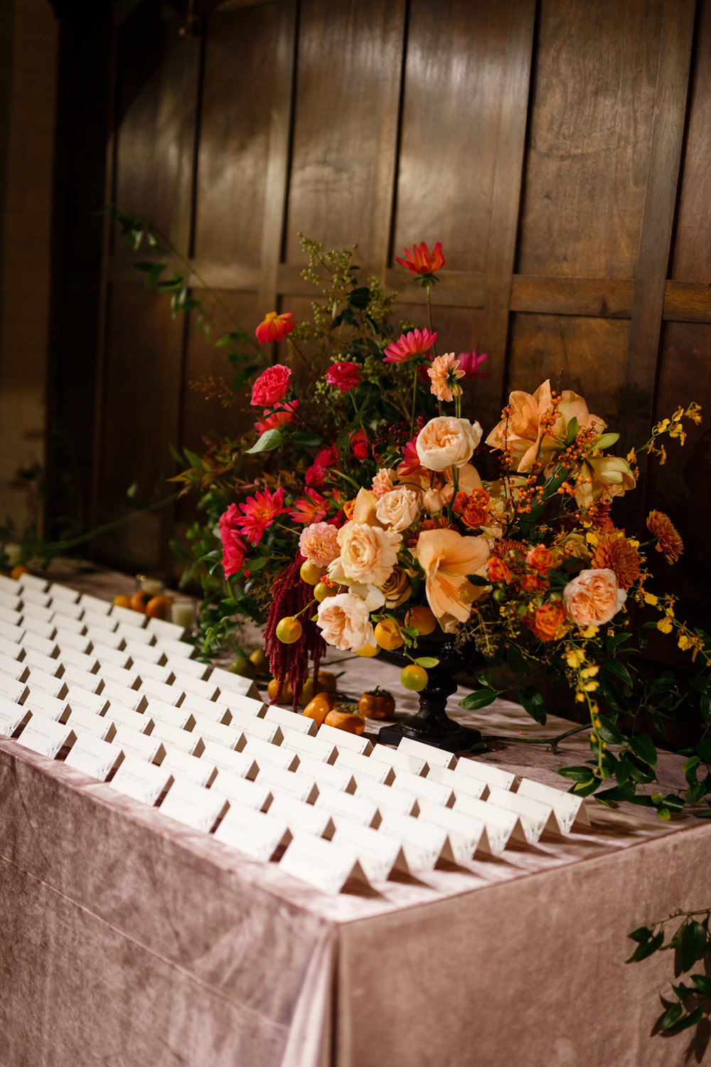 Weylin Wedding: Escort Card Table with pink velvet linen