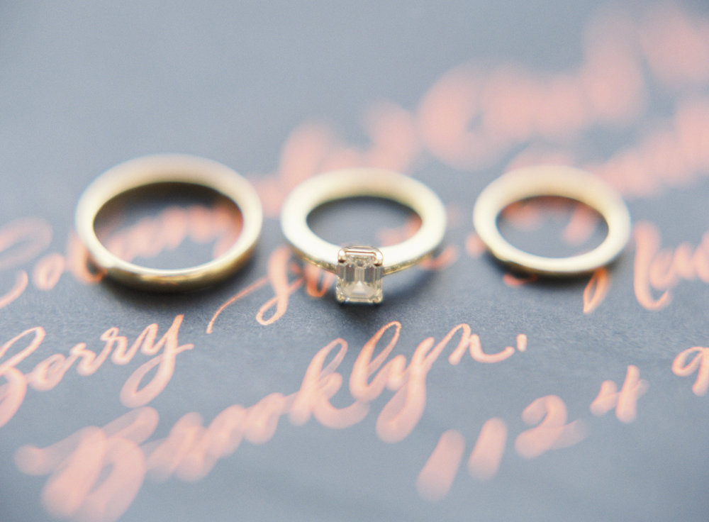 Blue Hill at Stone Barns wedding, event planner Ang Weddings and Events, photography Judy Pak, wedding rings, copper calligraphy on navy
