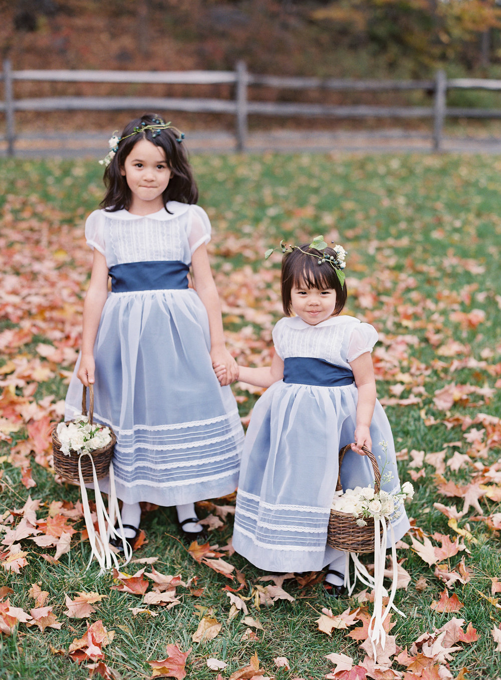 Blue Hill at Stone Barns wedding, event planner Ang Weddings and Events, photography Judy Pak, flower girls in navy dresses by Isabel Garreton