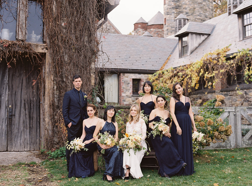 Blue Hill at Stone Barns wedding, event planner Ang Weddings and Events, photography Judy Pak, navy bridesmaids Amsale
