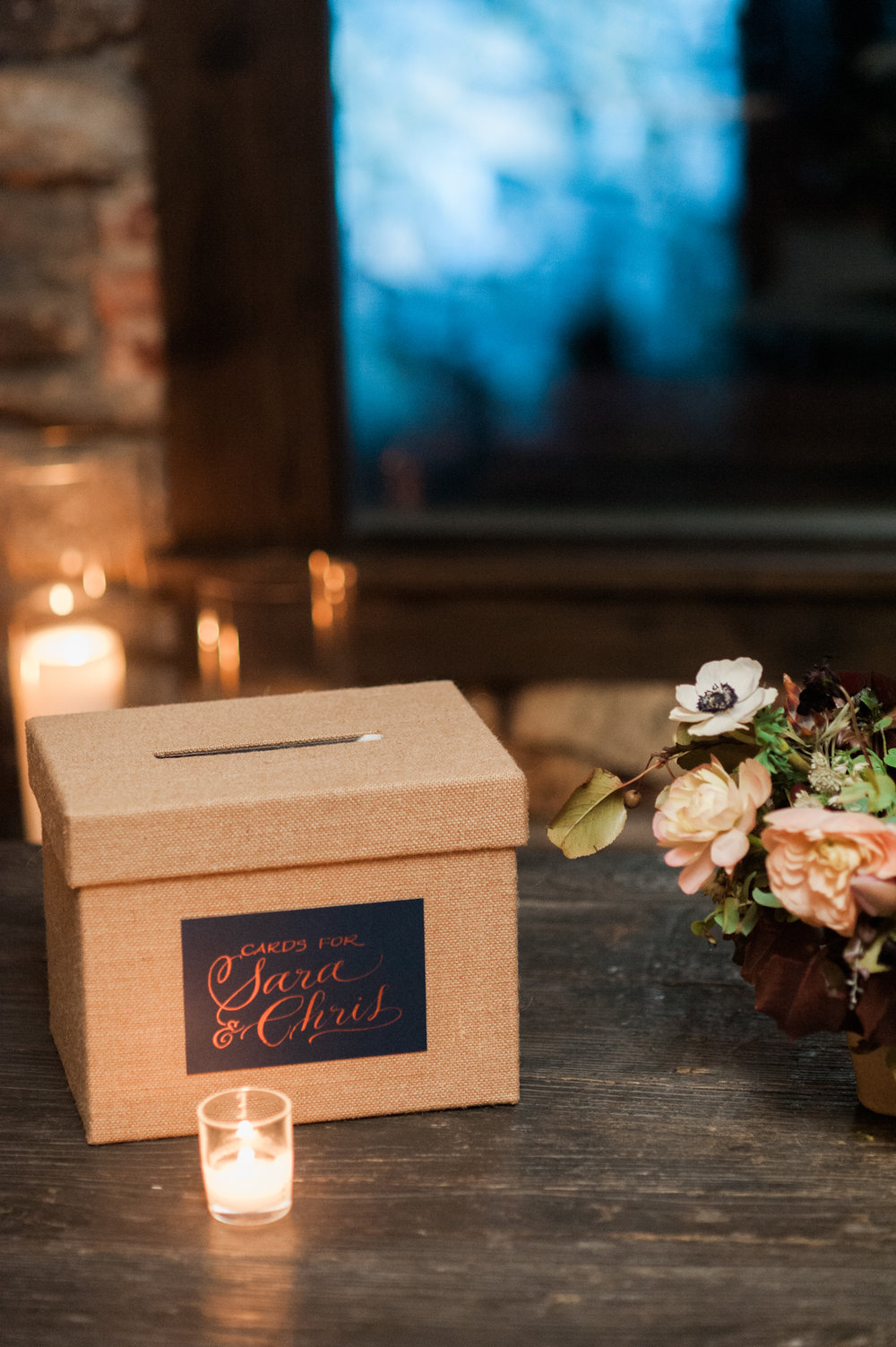 Blue Hill at Stone Barns wedding, event planner Ang Weddings and Events, photography Judy Pak, gift card box