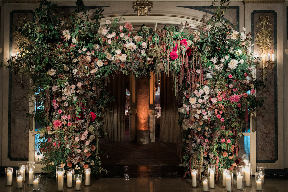 Plaza wedding floral arch