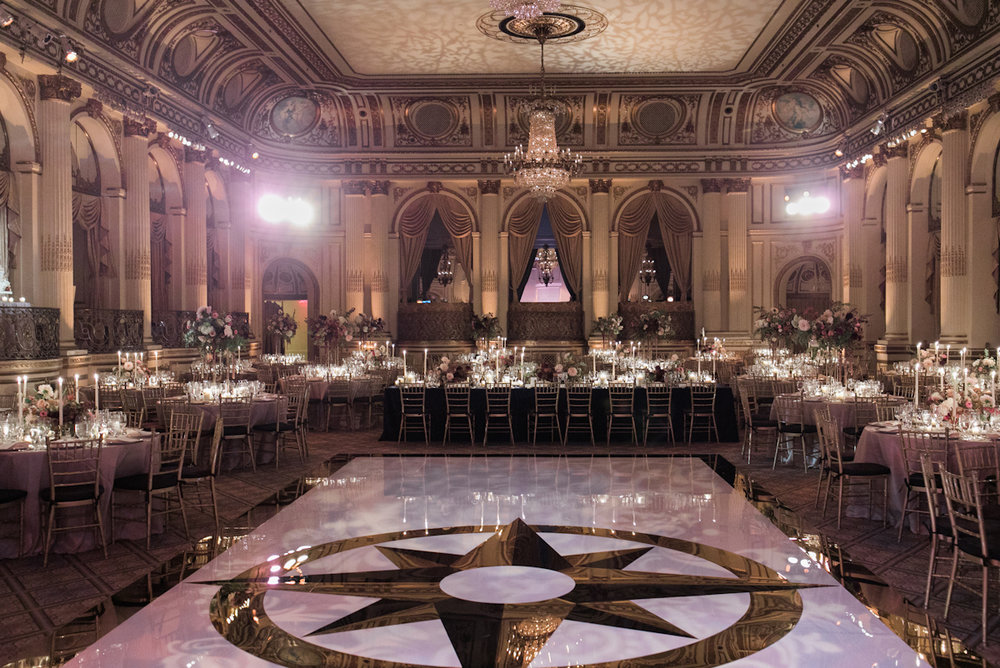 Plaza wedding ballroom with white and gold dance floor