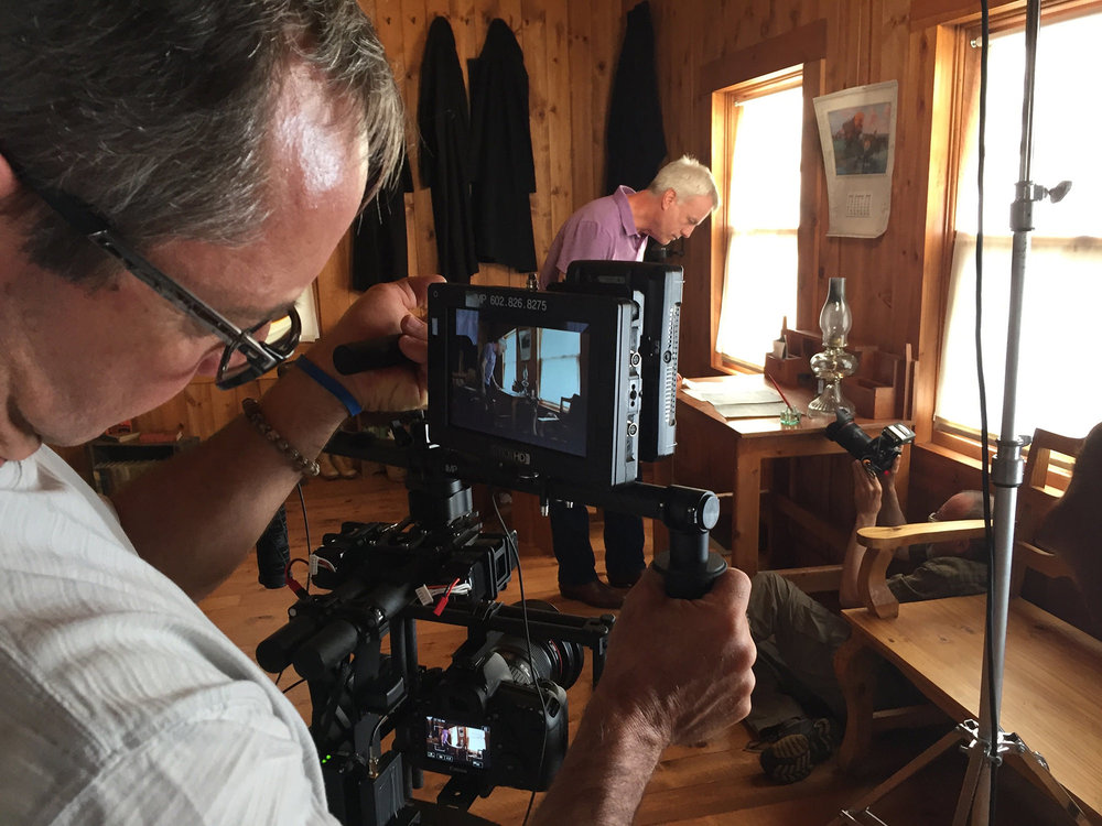 Riders  composer Craig Bohmler explores the origins of the opera's source material in Zane Grey's cabin (Photo courtesy of Quantum Leap Productions)