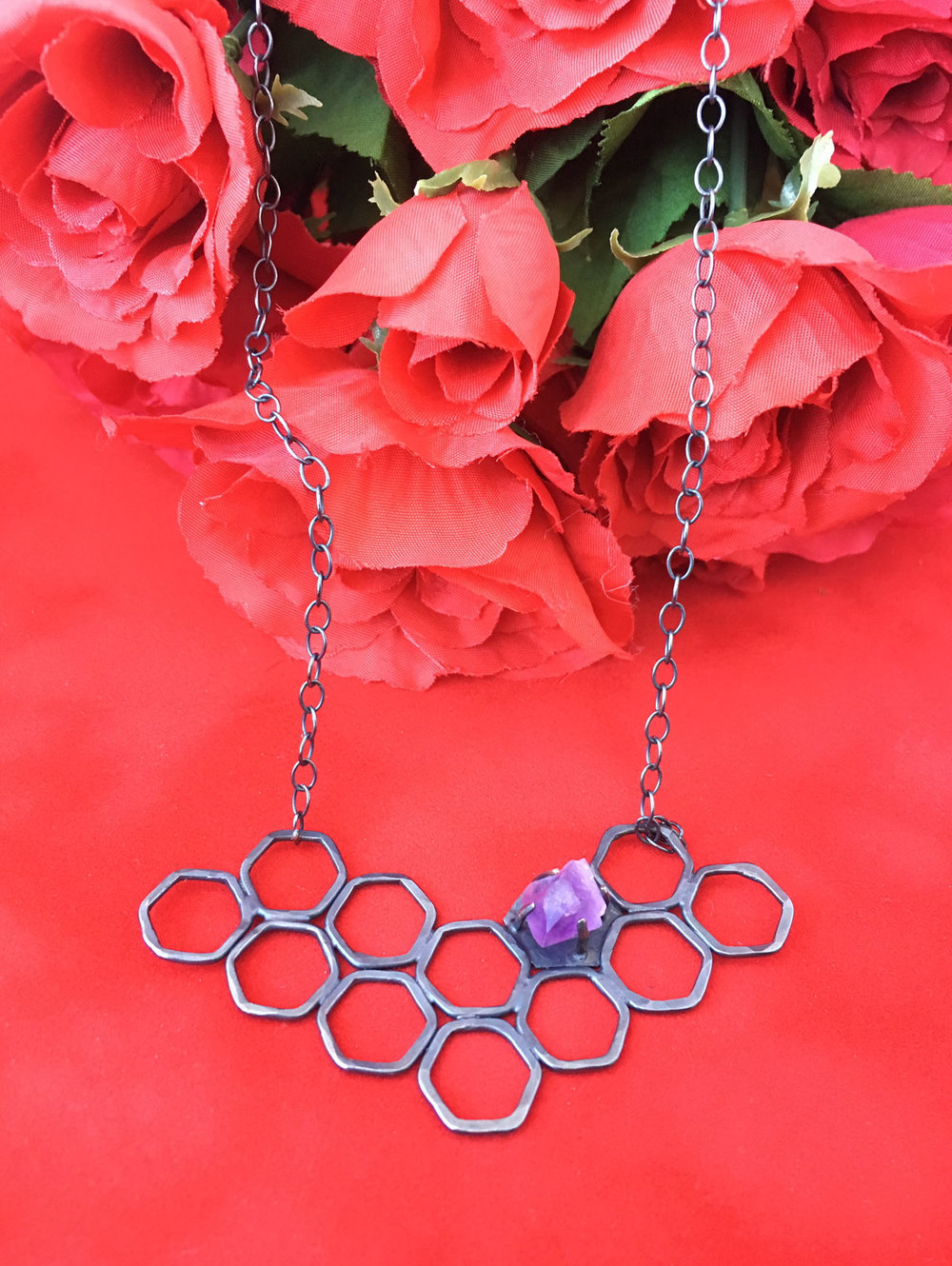 Sterling Silver and Raw Amethyst Honeycomb Necklace