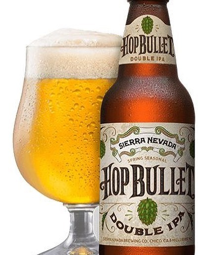 Now Available! Sierra Nevada Hop Bullet Double IPA  Description: Brewed with a double-barreled blast of Magnum hops and lupulin dust.Hops are the name of the game with a Double IPA, but we knew we had to take it one step further. With Hop Bullet, we're using a new technique, hitting the beer with a double-barreled blast of Magnum hops and lupulin dust—pure, concentrated hop flavor—directly into the tank to emphasize the intense pine and citrus flavors of classic West Coast hops.