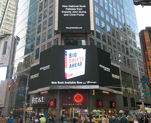 Big Shifts Ahead featured in Times Square, New York City.