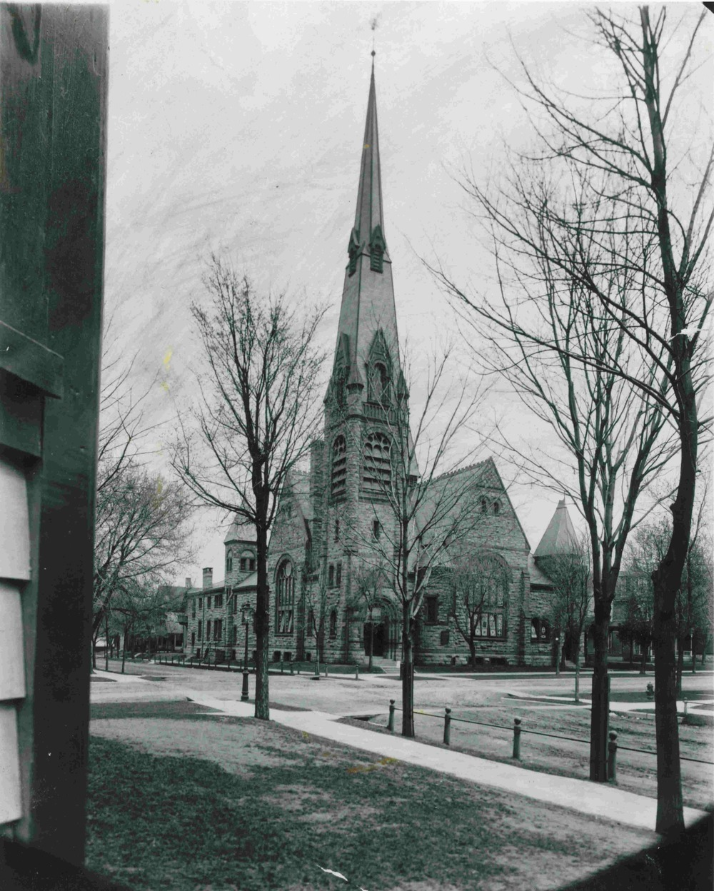 The original structure of St. Paul's Church with steeple