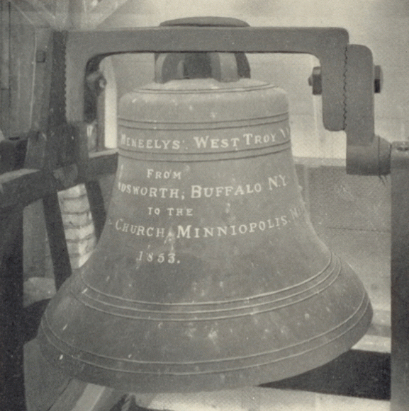 St. Paul's bell came all the way from Buffalo, NY. in 1883. Note the spelling of Minneapolis.