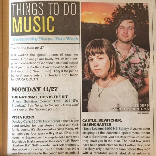Hey ma, we got our mugs in the paper looking real seriousss! Oh, and we are playing for free post-holiday (Sunday the 26th) at @rontomssundays with our pals/spacemates @candaceisaband and Hands In. Candace is celebrating the release of their new 45 and it sa-sa-slays. Come pick up a copy for yerself and get lost in the ethereal haze. ✌️🦃🌓🥃🎸