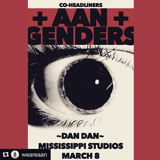 Bud from @weareaan made this creepycool poster and informed me that tickets to our March 8 show at @mississippistudios are already moving fast. Get yours soon! The amazing @dandantheband opens. Ticket link in our bio. ⚡️💖👁