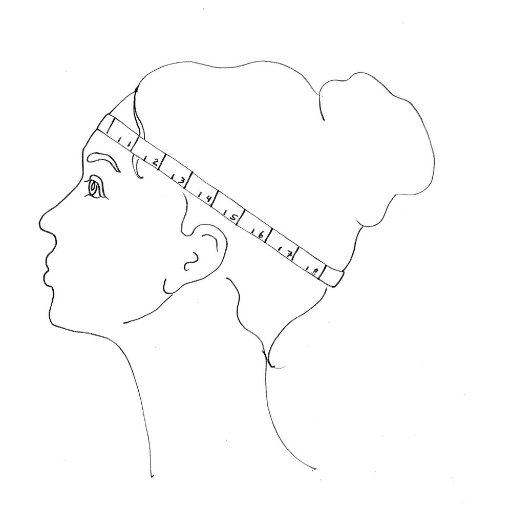 - To ensure an accurate measurement, place the tape measure above your eyebrows and ears, around the fullest part of your head. If you are between sizes, round up to the nearest size.
