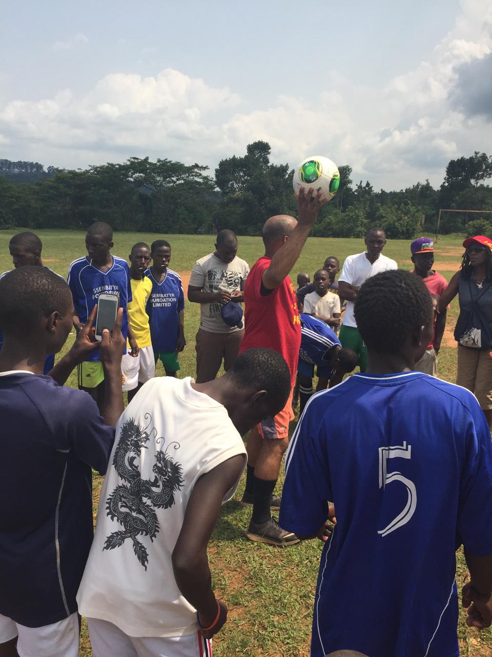Pre-game instructions from Makinto—Team Rangers from Uganda vs. Team Joyful!