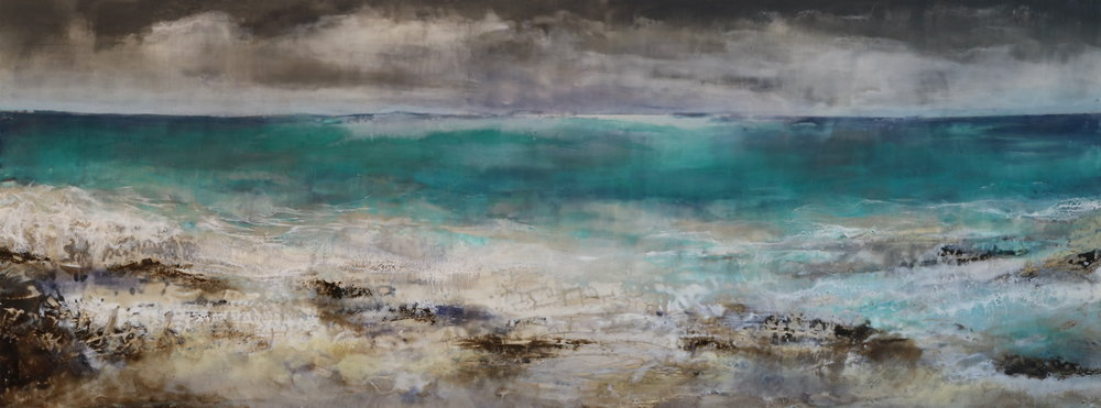 "After the Storm - 18x48"" Encaustic and Clay"