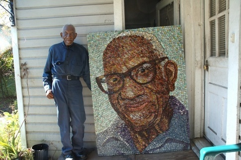 Simmons pictured here at his eastside home next to his bottle cap portrait by local artist, Molly B. Right.