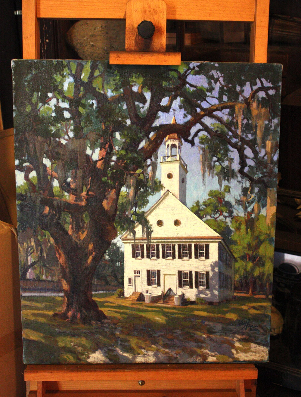 "Midway Church, 24"" x 10"" oil on canvas, West Fraser, personal collection"