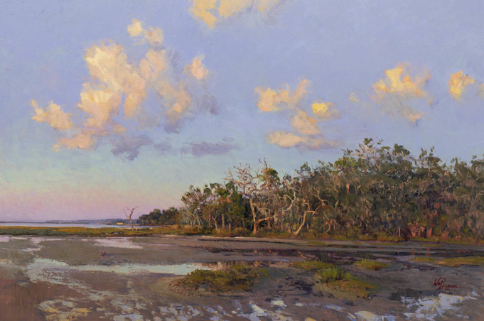 "Shoreline Sunset, 24"" x 36"" oil, available"