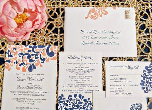 Coral and Navy Letterpress Invitation.png