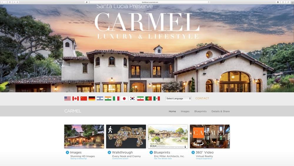 Luxury website for a home in Carmel, California, featuring 3D walk-through.