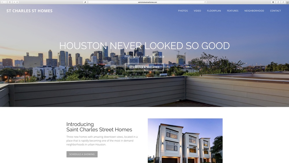 New construction in Houston, Texas. The client needed to emphasizes the view of the Houston skyline and the neighborhood amenities.