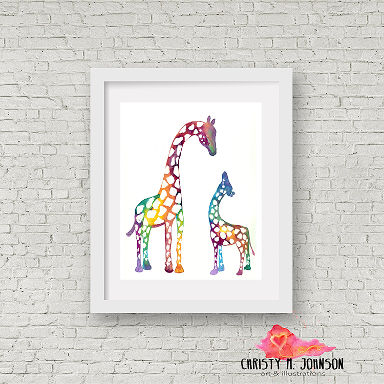 BrightColorfulGiraffes_watercolor_ink_8x10 .jpg