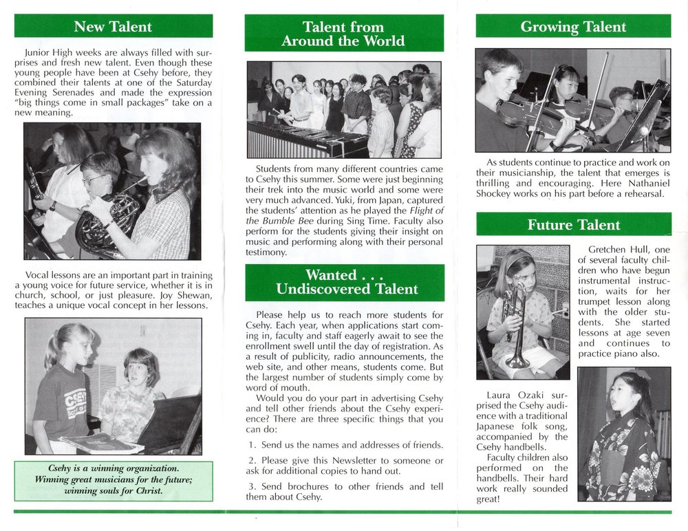 1997 Brochure - Campers include current faculty Dr. Emily Britton, Lisa Brown, Gretchen Hull, Dr. Erikson Rojas, and Dr. Benjamin Shute.