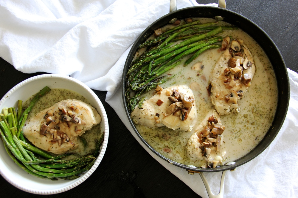 One Skillet Creamy Chicken with Mushrooms