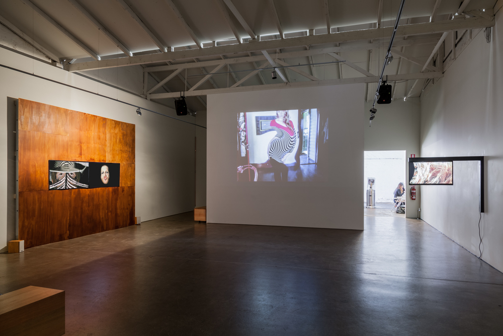 Installation view of In the epoch of the near and far. Left to right: Heath Franco, Petra Cortright, Marian Tubbs. Photo credit: Christo Crocker