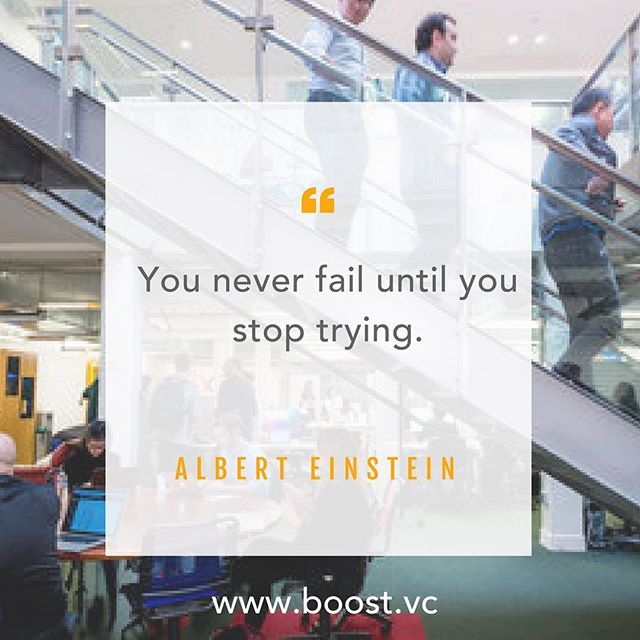 "If at first you don't succeed, try, try again. ""You never fail until you stop trying."" -- Albert Einstein #MotivationalMonday #keeptrying #nevergiveup #grind #workhard #startup #business #inspire #founder #entrepreneur #womenintech"