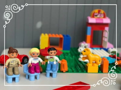 A Duplo scene created by a three year-old during his mom's private lesson