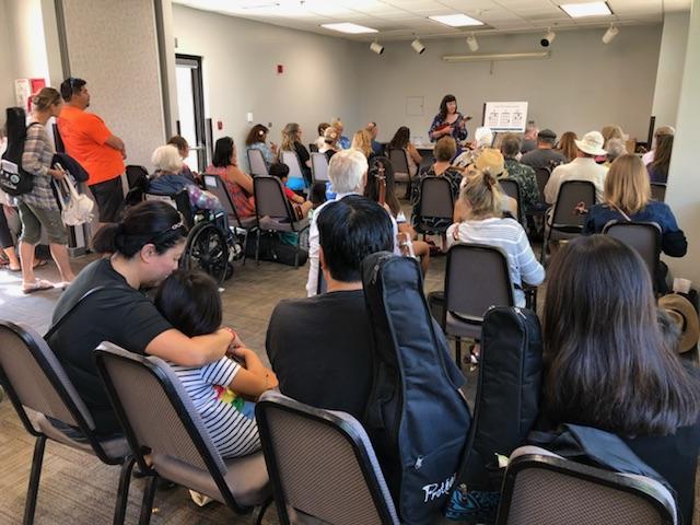 Leading a group workshop at the 2018 Los Angeles International Ukulele Festival in September.