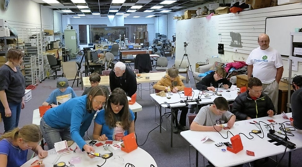 Soldering class at Tinkermill in Longmont Colorado