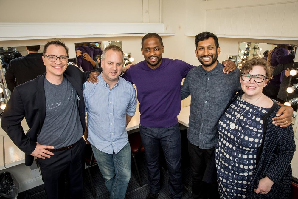 Backstage: Josh, Nate DiMeo, Dulé Hill, Hrishi, and Helen Zaltzman. © photo by @jakubmosur.