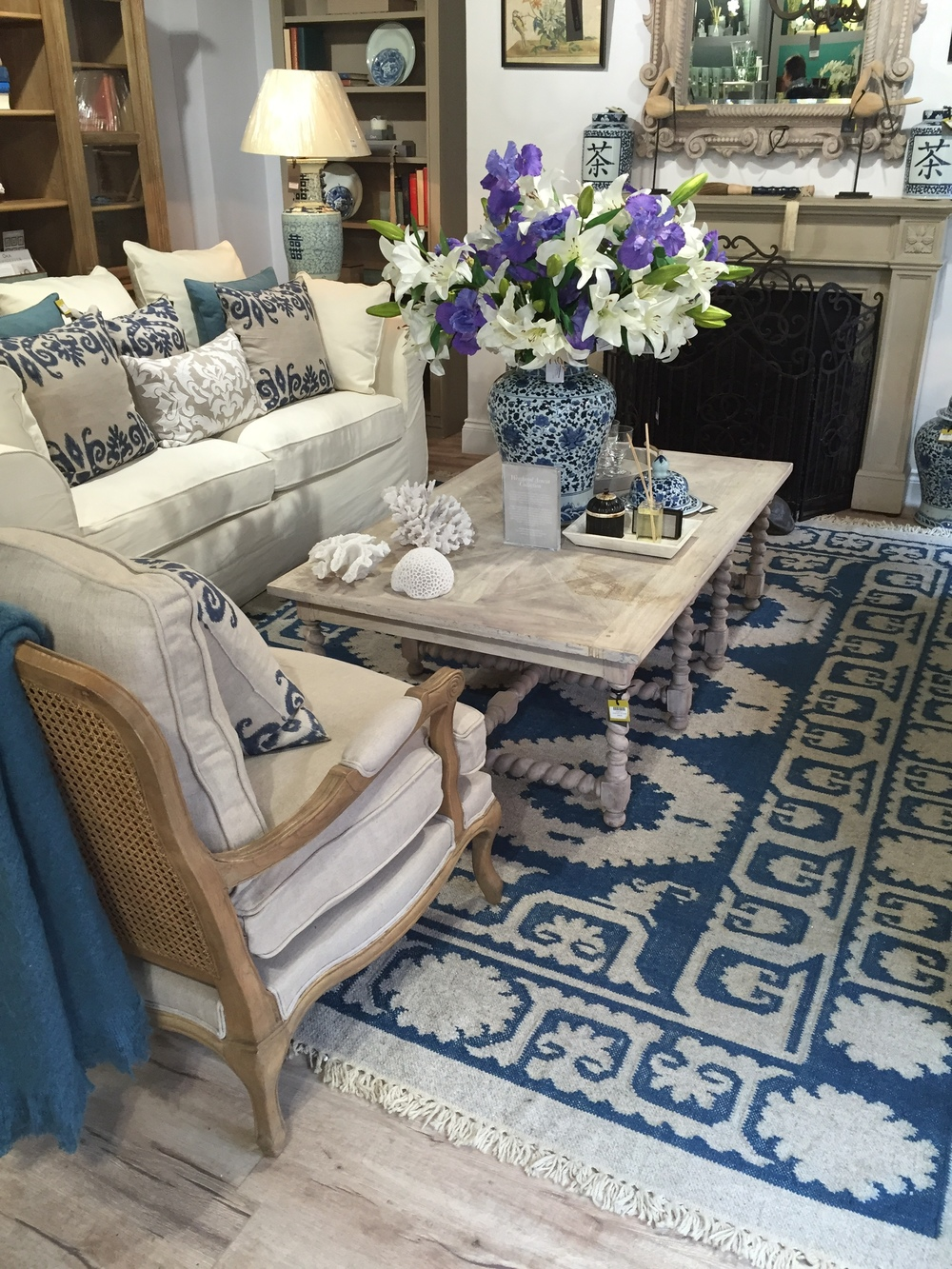 Luxury Brand: A Day Out with OKA Interior Design House: Blue and Cream Living Room