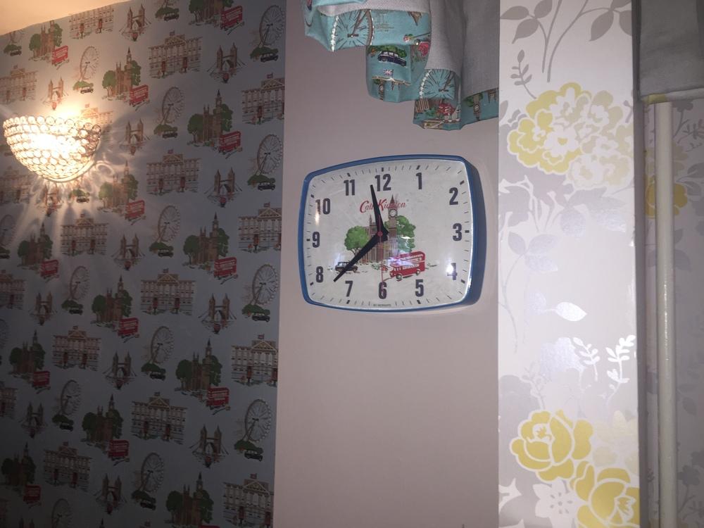 Cheddar Tea Rooms Decor: Cath Kidston Wallpaper & Clock