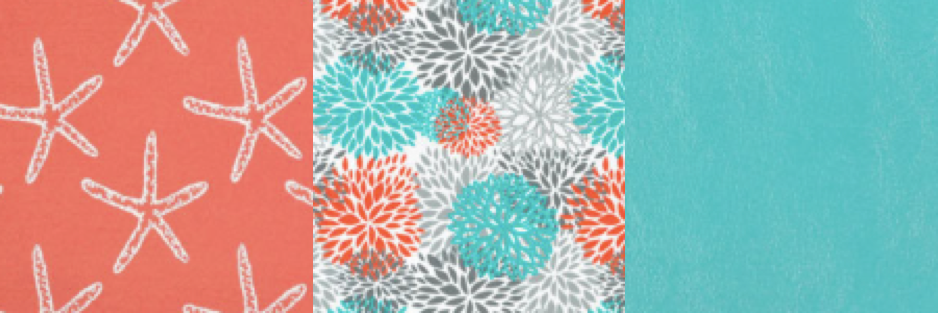 Coral starfish fabric explosion plain teal
