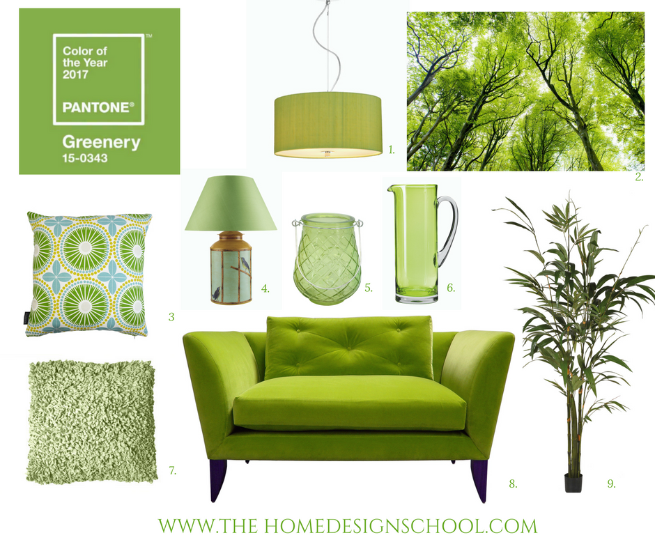 Pantone color of the year 2017 greenery mood board