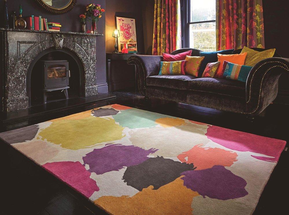 Harlequin multi-coloured area rug