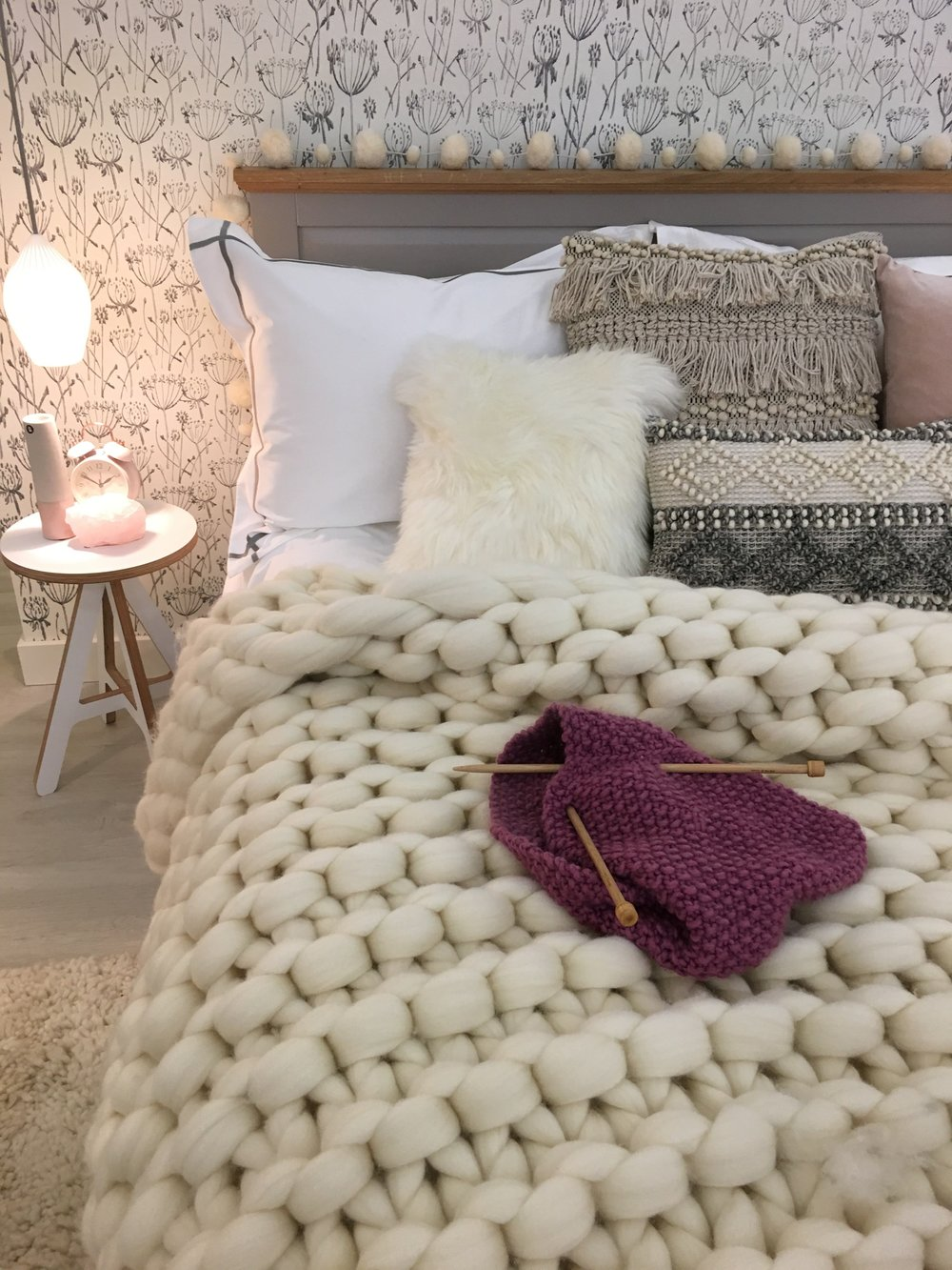 Bedroom with Chunky Knit Throw Ideal Home Show