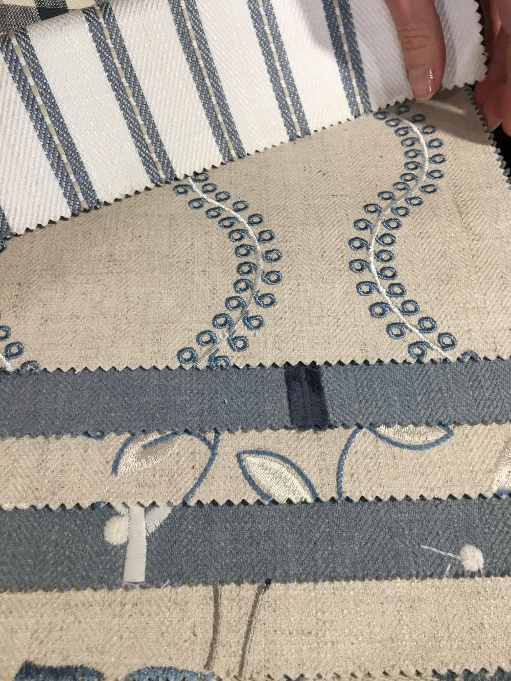 Fabric Books show co-ordinating fabrics within a colour range.