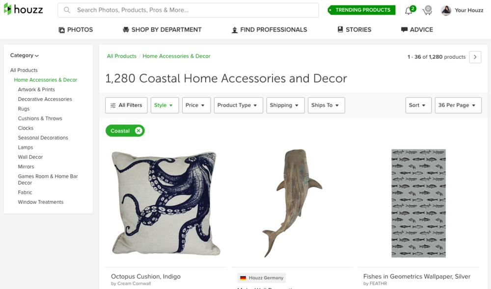 Houzz online home decor accessories