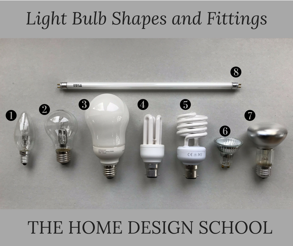 1. Candle Bulb with Screw Fixing | 2. Small Globe with Screw Fixing | 3. Large White Globe with Screw Fixing | 4. Stick Bulb with Bayonet Fixing | 5. Spiral Bulb with Bayonet Fixing | 6. Spot light with Pin Fixing | 7. Mirrored Spot Light with Screw Fixing | 8. Strip Light with Pin Fixing.