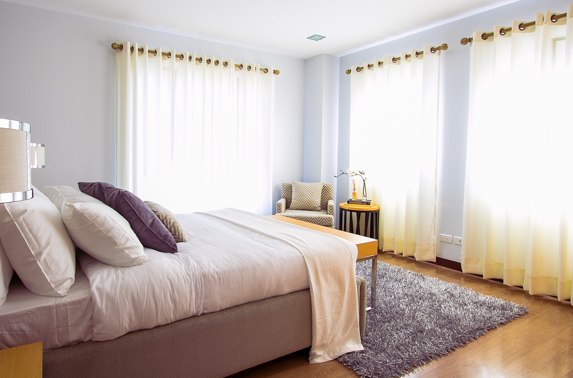 These curtains are just short of the floor, keeping them clean, and clear of any dirt.