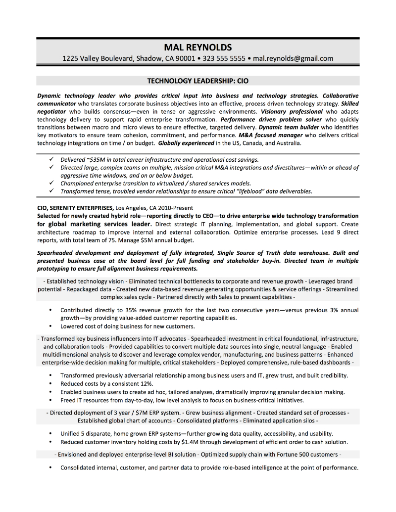 CIO Sample Resume U2013 Mal Reynolds  Cio Resume Sample