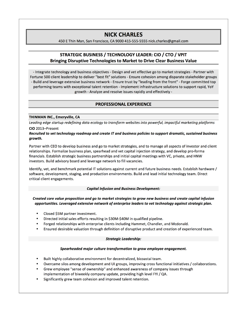 CIO Sample Resume U2013 Nick Charles  Sample Resume It
