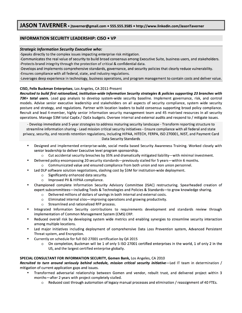 ciso sample resume jason taverner - It Sample Resumes
