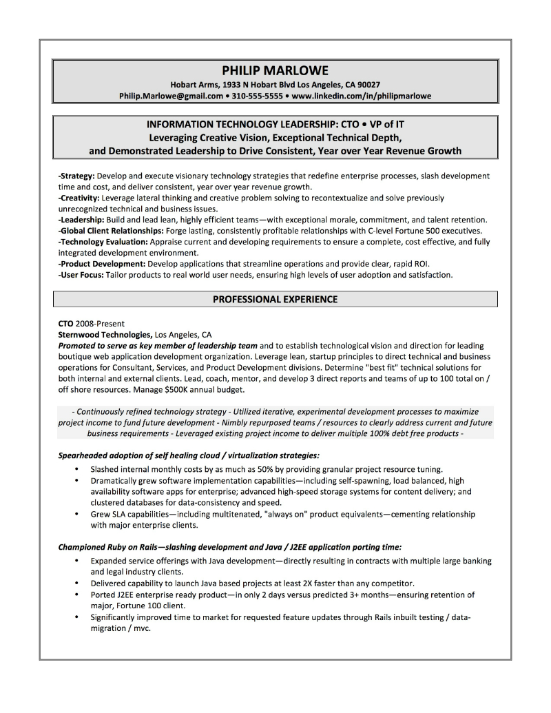 CTO Sample Resume U2013 Philip Marlowe  Linkedin Resume Examples