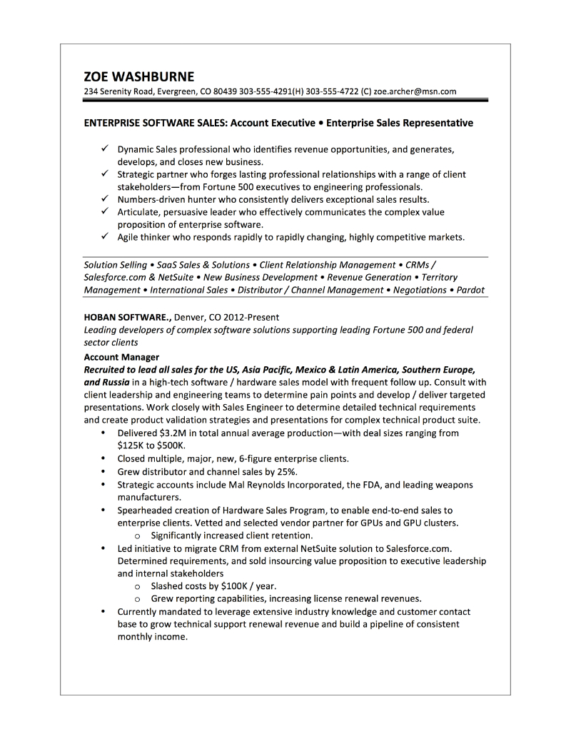 enteprise software sales resume zoe washburne. Resume Example. Resume CV Cover Letter